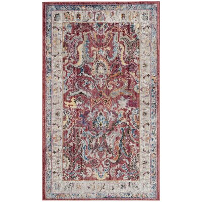 Fitz Rose/Light Gray Area Rug Rug Size: 3 x 5