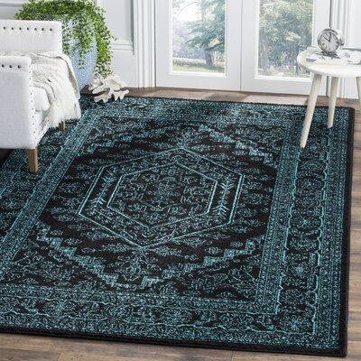 Alisa Black/Teal Area Rug Rug Size: Rectangle 3 x 5