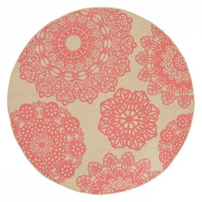 Devondra Crochet Pink/Beige Indoor/Outdoor Area Rug Rug Size: Round 710