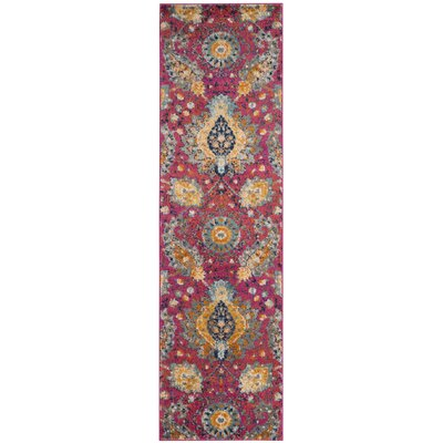 Loretta Pink/Gold Area Rug Rug Size: Runner 23 x 8