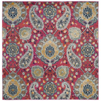 Loretta Pink/Gold Area Rug Rug Size: Square 7