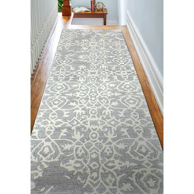 Flori Hand-Tufted Gray Area Rug Rug Size: Runner 26 x 8