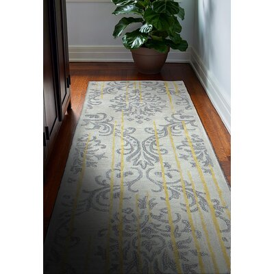 Flori Hand-Tufted Silver Area Rug Rug Size: Runner 26 x 8
