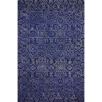 Banneker Hand-Tufted Navy Area Rug Rug Size: 76 x 96