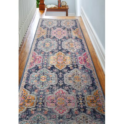 Fernand Dark Blue/Orange Area Rug Rug Size: Runner 27 x 8