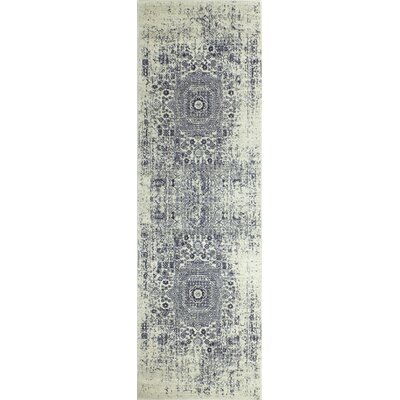 Riggs Ivory/Blue Area Rug Rug Size: Runner 26 x 8