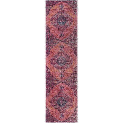 Manya Power Loom Pink Area Rug Rug Size: Runner 22 x 8