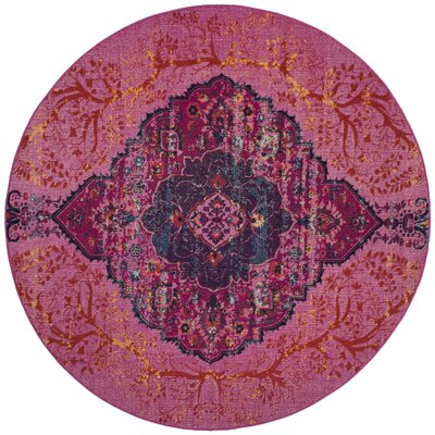 Manya Power Loom Pink Area Rug Rug Size: Round 67