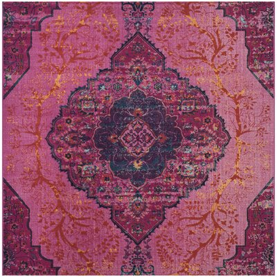 Manya Power Loom Pink Area Rug Rug Size: Square 67