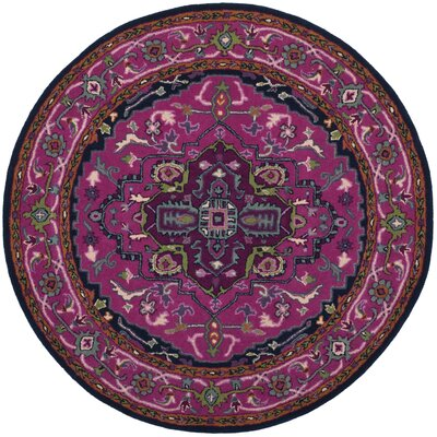 Marco Hand-Tufted Pink/Navy Area Rug Rug Size: Round 5 x 5