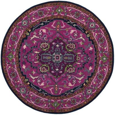 Blokzijl Hand-Tufted Wool Pink/Navy Area Rug Rug Size: Round 5