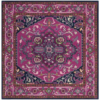 Marco Hand-Tufted Pink/Navy Area Rug Rug Size: Square 5 x 5