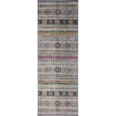 Ashburn Distressed Teal Area Rug Rug Size: Runner 26 x 8