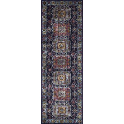Ashburn Distressed Dark Blue Area Rug Rug Size: Runner 2'6