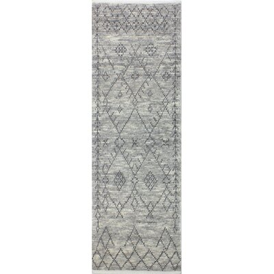 Floressa Hand-Knotted Gray Area Rug Rug Size: Runner 26 x 8