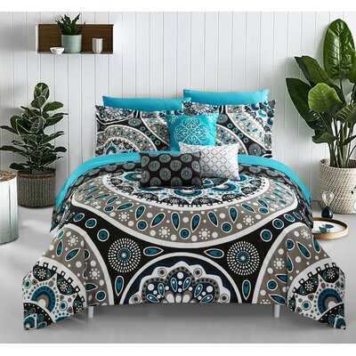 Birchley 10 Piece Reversible Comforter Set Size: King