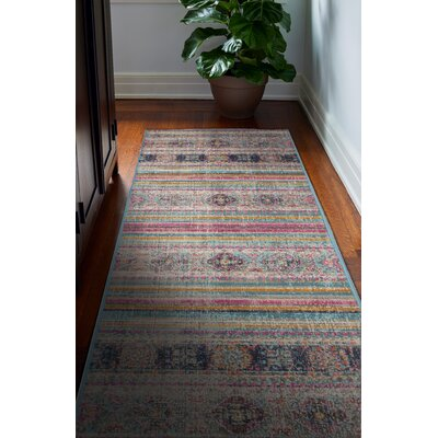Ashburn Distressed Teal Area Rug Rug Size: 38 x 56