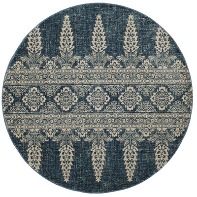 Elson Floral Royal/Ivory Area Rug Rug Size: Round 67