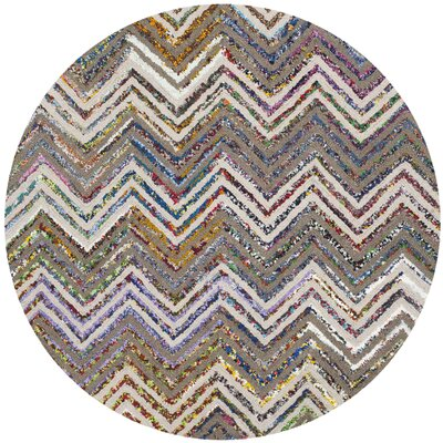 Hand-Tufted Beige/Gray Area Rug Rug Size: Round 4