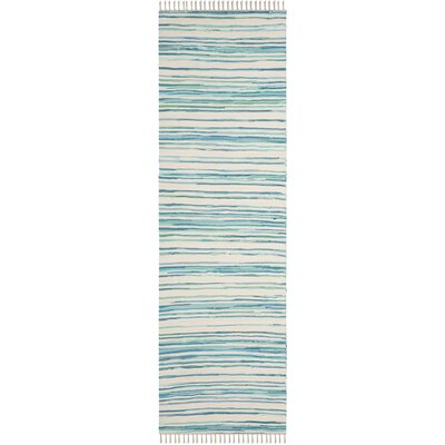 Saleem Hand-Woven Ivory/Green Area Rug Rug Size: Runner 23 x 8