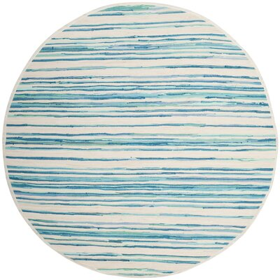 Saleem Hand-Woven Ivory/Green Area Rug Rug Size: Round 6