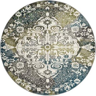 Sharmila Beige/Green Area Rug Rug Size: Round 67