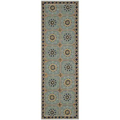 Istanbul Hand-Hooked Light Blue/Dark Blue Area Rug Rug Size: Runner 26 x 10