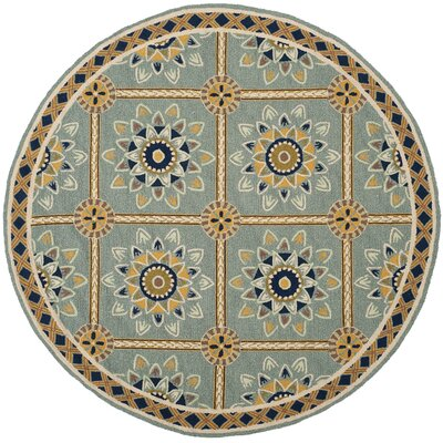 Istanbul Hand-Hooked Light Blue/Dark Blue Area Rug Rug Size: Round 6 x 6
