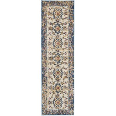 Mcknight Ivory/Blue Area Rug Rug Size: Runner 22 x 76