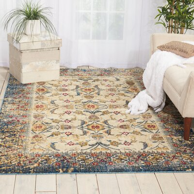Mcknight Ivory/Blue Area Rug Rug Size: Rectangle 5'3