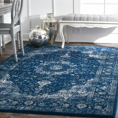 Linden Dark Blue Area Rug Rug Size: Rectangle 9 10 x 14