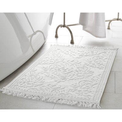 Angelena Cotton Fringe Bath Rug Color: White, Size: 27 W x 45 L