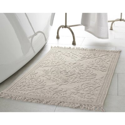 Angelena Cotton Fringe Bath Rug Color: Light Gray, Size: 21 W x 34 L