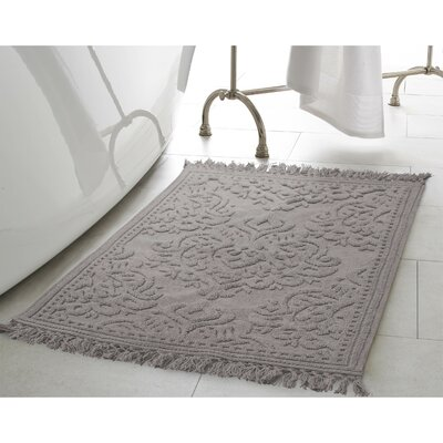 Angelena Cotton Fringe Bath Rug Color: Dark Gray, Size: 21 W x 34 L
