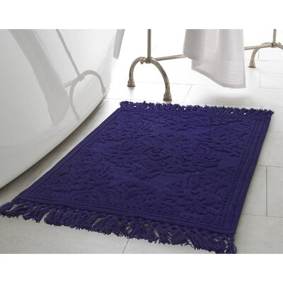 Angelena Cotton Fringe Bath Rug Color: Indigo, Size: 21 W x 34 L