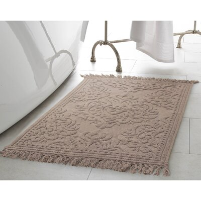 Angelena Cotton Fringe Bath Rug Color: Linen, Size: 27 W x 45 L