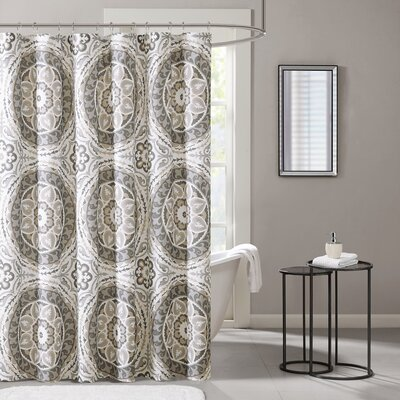 Keiko Printed Shower Curtain Color: Taupe