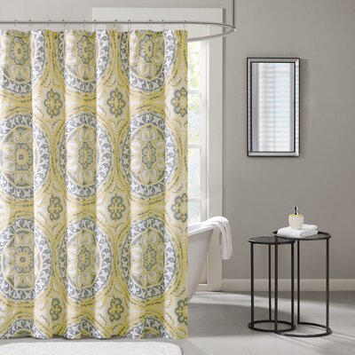 Keiko Printed Shower Curtain Color: Yellow