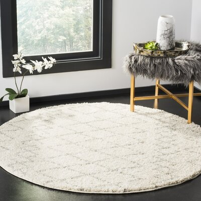Tourville Cream/Light Gray Area Rug Rug Size: Round 51
