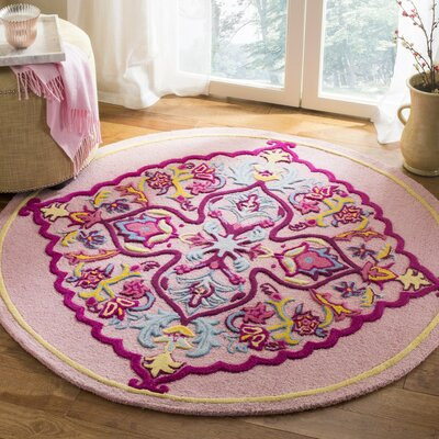 Blokzijl Hand-Tufted Pink Area Rug Rug Size: Round 5