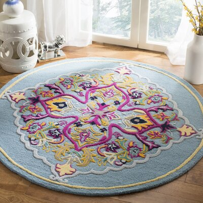 Blokzijl Hand-Tufted Light Blue Area Rug Rug Size: Round 5 x 5