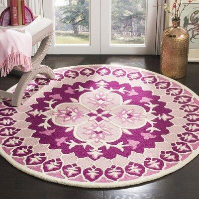 Blokzijl Hand-Tufted Pink/Ivory Area Rug Rug Size: Round 5