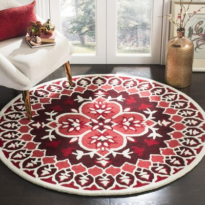 Bellagio Hand-Tufted Wool Red/Ivory Area Rug Rug Size: Square 5