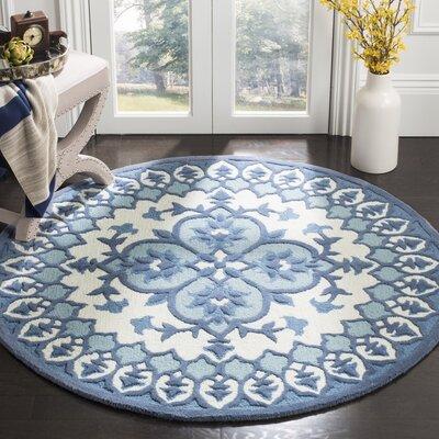 Blokzijl Hand-Tufted Ivory/Blue Indoor Area Rug Rug Size: Round 5
