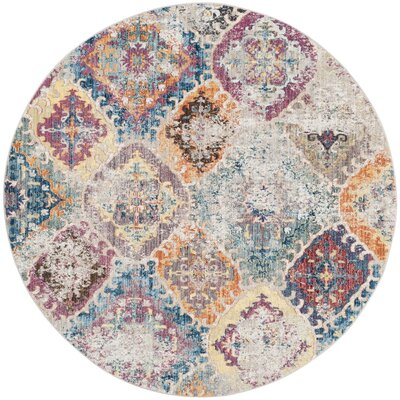 Lusulu Blue/Light Gray Area Rug Rug Size: Round 7