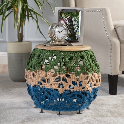 Roberto Fabric Table Finish: Green/Blue