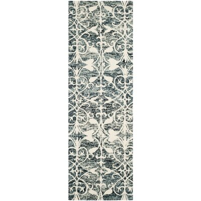 Greenmarket Hand-Tufted Charcoal/Ivory Area Rug Rug Size: Runner 23 x 7