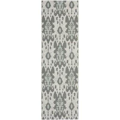Amedee Light Grey Anthracite/Aqua Weft Outdoor Rug Rug Size: Runner 27 x 82