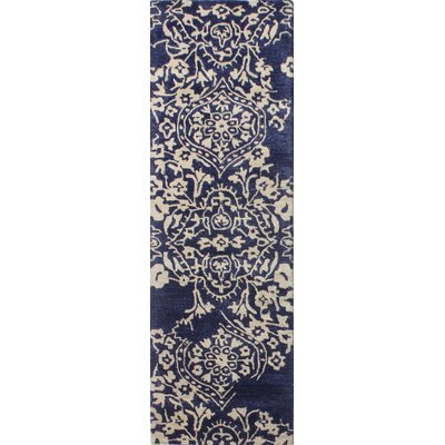 Flori Hand-Tufted Navy Area Rug Rug Size: Runner 26 x 8