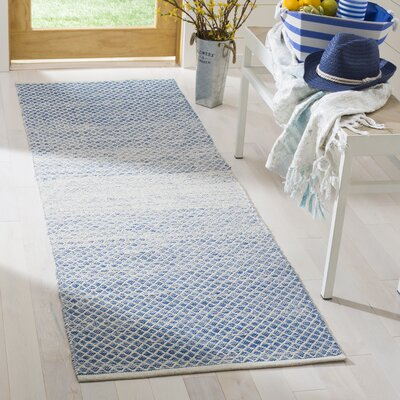 Saleem Hand-Woven Blue/Ivory Area Rug Rug Size: Runner 23 x 7
